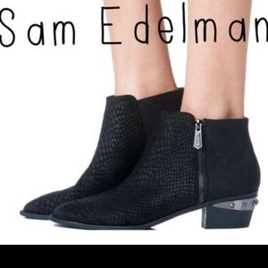 Sam Edelman Black Suede Spiked Ankle Booties Holt